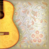 Abstract grunge music background with guitar and f. Abstract grunge music background with acousttic guitar and floral ornament Stock Photo