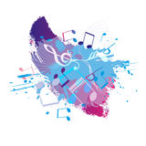 Abstract grunge music background with notes,  Stock Photography