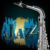 Abstract grunge music background with saxophone Royalty Free Stock Photo