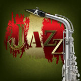 Abstract grunge music background with saxophone Stock Images