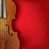 Abstract grunge music background with violin. Abstract music background with violin on red Royalty Free Stock Photos