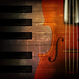 Abstract grunge music background with violin. Abstract brown grunge music background with violin Royalty Free Stock Photography