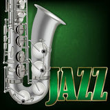 Abstract grunge music background with word Jazz and saxophone Stock Images