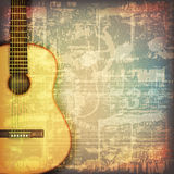 Abstract grunge piano background with acoustic guitar Stock Photo