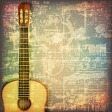 Abstract grunge piano background with acoustic guitar Royalty Free Stock Photos