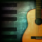 Abstract grunge piano background with acoustic guitar Stock Images