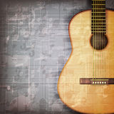 Abstract grunge piano background with acoustic guitar Royalty Free Stock Photography