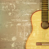 Abstract grunge piano background with acoustic guitar Royalty Free Stock Images