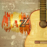 Abstract grunge piano background with acoustic guitar. Abstract green sound grunge background with acoustic guitar and word Jazz Stock Photos