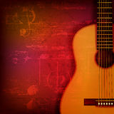 Abstract grunge piano background with acoustic guitar. Abstract red sound grunge background with acoustic guitar Stock Image