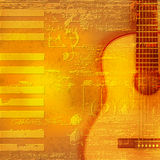 Abstract grunge piano background with acoustic guitar. Abstract yellow grunge piano background with acoustic guitar Stock Images