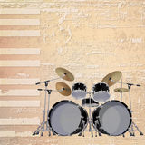 Abstract grunge piano background with black drum kit Stock Images