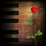 Abstract grunge piano background with red rose Royalty Free Stock Photo
