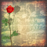 Abstract grunge piano background with red rose Stock Photos