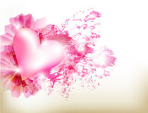 Abstract grunge pink background with heart. Valentine vector Abstract grunge pink background with heart Stock Image