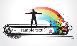 Abstract grunge rainbow background with standing m Royalty Free Stock Photography