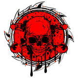 Abstract grunge red sign to skull Stock Images