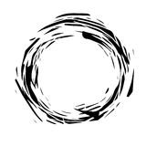 Abstract grunge round frame. Black paint splashes. Dynamic torn shapes. Element for your design. Stock Photo