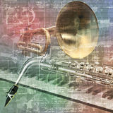 Abstract grunge sound background with trumpet Stock Images