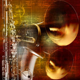 Abstract grunge sound background with trumpets and saxophone Stock Photo