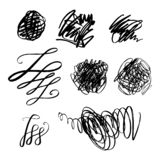 Abstract grunge spots set, brush strokes, scribble. Universal design, decor elements. Chaotic hand drawn sketches vector illustration