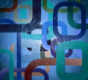 Abstract grunge square on blue background Stock Photo
