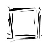 Abstract grunge square frame. Black paint splashes. Dynamic torn shapes. Element for your design. Royalty Free Stock Image