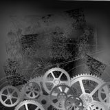 Grunge gears black 01. Abstract grunge technology background, vector illustration clip-art Royalty Free Stock Photos