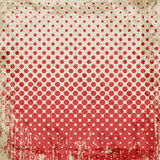 Abstract grunge vintage background of red dots. Evenly decrease size of circles. Stock Photos