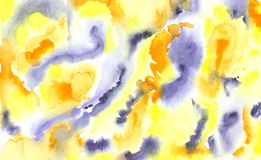 Abstract grunge watercolor background in blue yellow colors. Spots and splashes vector illustration
