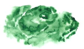 Abstract grunge watercolor background in green colors. Spots and splashes textural painting stock illustration
