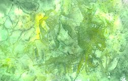 Abstract grunge watercolor background green and light green colors. Texture painting royalty free illustration