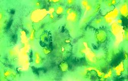 Abstract grunge watercolor background in green and yellow colors. Abstract grunge watercolor background green and yellow colors spots and splashes royalty free illustration