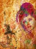 Watercolor portrait Stock Photography