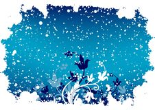 Abstract grunge winter background with flakes and flowers in blu. E color stock illustration