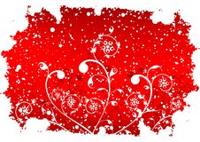 Abstract grunge winter background with flakes and flowers in red Stock Photos