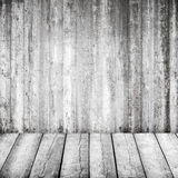 Abstract grunge wit binnenland met houten vloer Royalty-vrije Stock Afbeeldingen