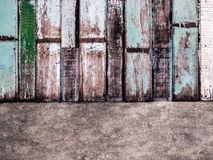 Cement and painted wood wall stock photography