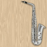 Abstract grunge wooden background with saxophone Stock Image