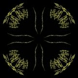 Abstract grunge yellow floral pattern. Isolated on black background. Rough noise design stock illustration