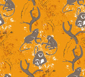 Abstract grungy seamless pattern. Trees and monkeys Stock Photos