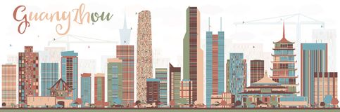 Abstract Guangzhou China City Skyline with Color Buildings. Vector Illustration. Business Travel and Tourism Concept with Modern Buildings. Guangzhou Cityscape Stock Illustration