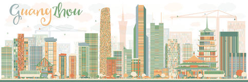 Abstract Guangzhou Skyline with Color Buildings. Vector Illustration. Business Travel and Tourism Concept with Modern Buildings. Image for Presentation Banner Stock Illustration