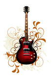 Abstract with guitar. Electric guitar on a floral background Stock Image