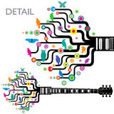Abstract Guitar. An illustration of a funky guitar with abstract colorful designs of tree with colorful birds Stock Illustration