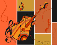 Abstract Guitar. With musical notes and colorful background stock illustration
