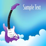 Abstract guitar background. An abstract, illustrated background of a purplish guitar on clouds and blue sky Royalty Free Stock Photo