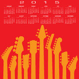 An abstract 2015 Guitar music calendar. For Print or Web royalty free illustration