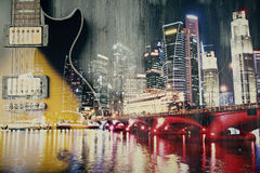 Abstract Guitar On City Background Royalty Free Stock Image
