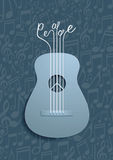 Abstract Guitar and Peace Symbol with Notes Background Stock Images